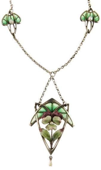Art Nouveau Silver and Plique-á-Jour Enamel Pansy Necklace - circa 1900.