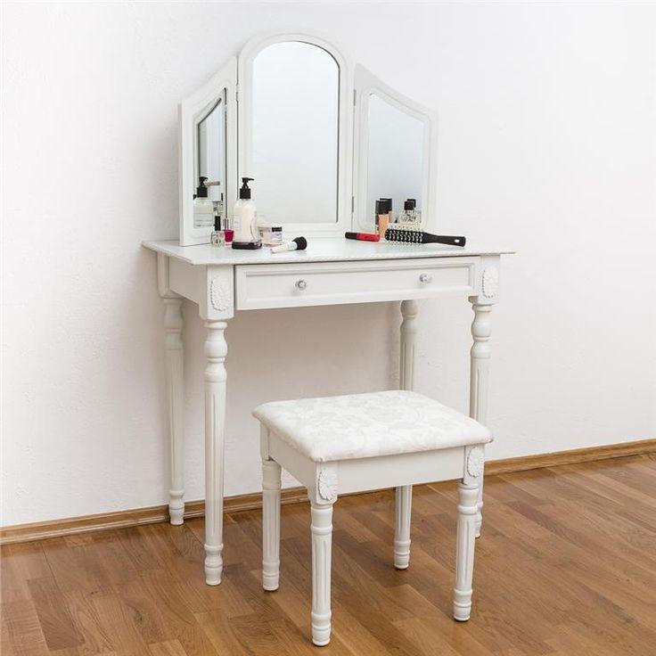 Trä sminkbord med pall och spegel / vit / Ny