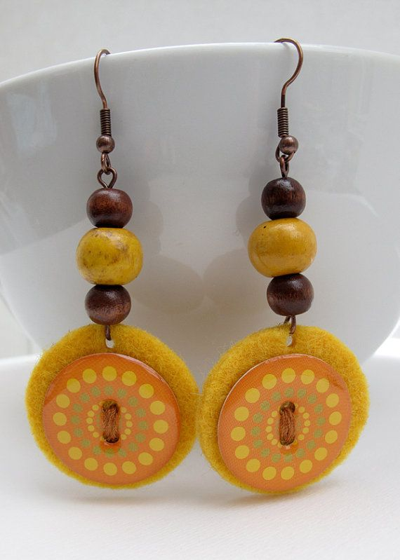 Original felted dangle earrings yellow mustard by Lespetitsbuttons
