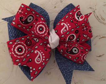 Denim Hair Bow with Red Bandana Ribbon, Denim and Bandana Bow Red Bandana Hair Bow Denim and Red Bow Picnic Bow Camping Bow Red Paisley Bow