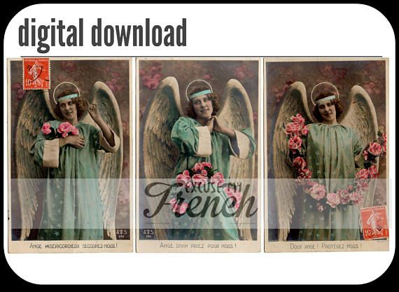 "* Instant download *    This is a scan of 3 angel pictures from the same French vintage postcards collection. Captions are in French ""Divine angel pray for us"",   Perfect for scrapbooks, journals, collage, gift tags, bookmarks, postcards…    You will receive 1 file, with the 3 images and without the watermark."