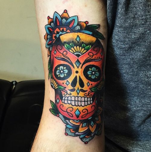 Sugar skull mandala fun by Tita Jewels! Best tattoo shop in Austin!