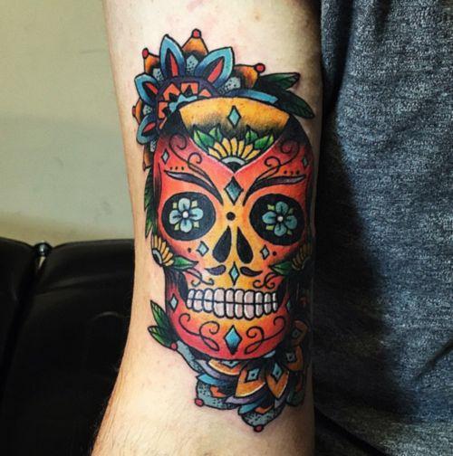 Sugar skull mandala fun by Tita Jewels! Best tattoo shop in Austin!