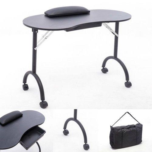 black portable manicure table nail art beauty salon mobile desk storage drawer