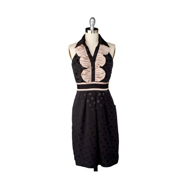 French Silk Chocolate Dress ($111) ❤ liked on Polyvore featuring dresses, vintage, silk party dress, vintage polka dot dress, vintage cocktail dresses, ruffle dress and night out dresses
