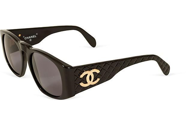 Chanel Black Quilted Logo Sunglasses on OneKingsLane.com