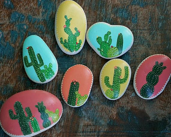 Hand Painted Rocks Cactus Rock Hand Painted Painted Rock