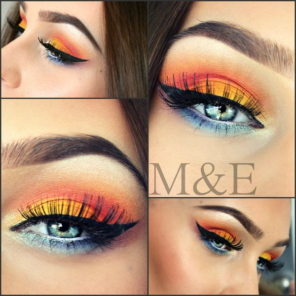 3cbf4b906df Pretty Sunset Colors on the Eye and with False Lashes it Really Pops! |  Beauty in 2019 | Makeup, Eye makeup, Colorful eye makeup