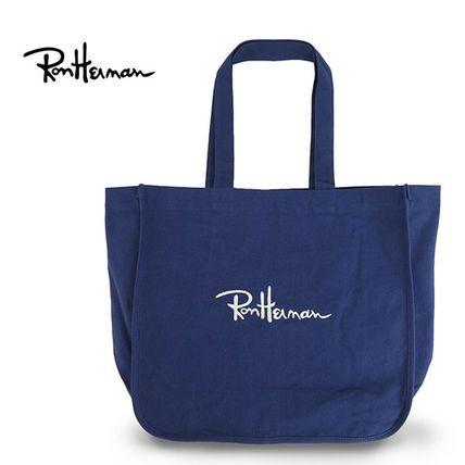 ◆ロンハーマン キャンバス トートバッグ ロゴ刺繍 ネイビー