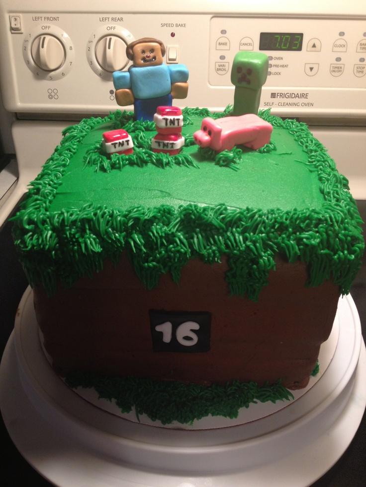 Minecraft grass block cake My Cakes Pinterest