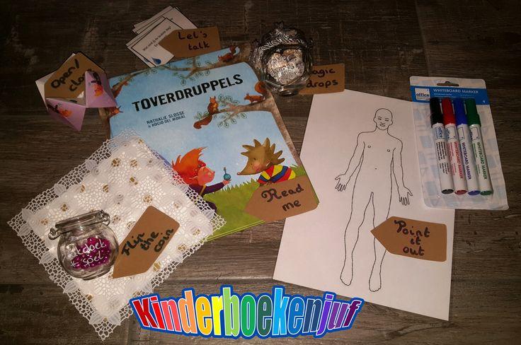 Uitgewerkt pakket (verteltas) door de Kinderboekenjuf rond Toverdruppels, met oa. gelamineerde plaat en uitwisbare stiften om aan te duiden waar het gevoel zit
