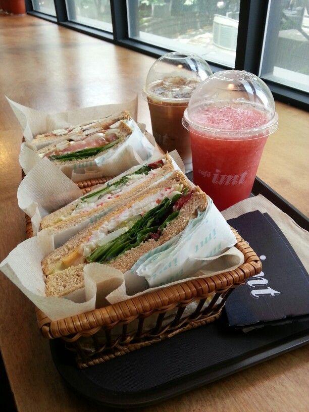 crab wasabi sandwich & watermelon juice