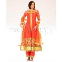 #Exclusively.in, #Indian Ethnic wear, Deep Orange Anarkali Suit with Gota Work