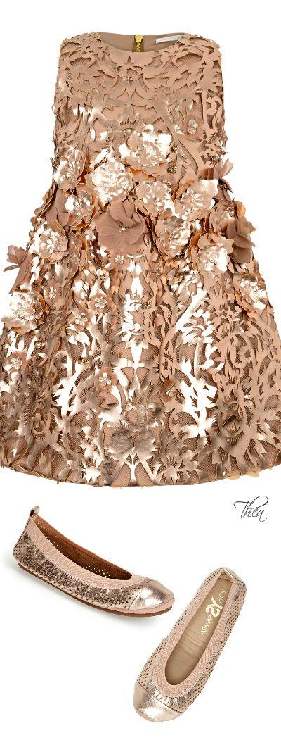 Mischka Aoki ● Metallic Gold Floral Dress & Yosi Samra Ballet Flat