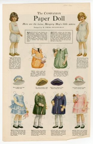 The Companion Paper Doll Series:  The Twins, Margery May's Little Sisters magazine paper dolls by M. Emma Musselman; 1920