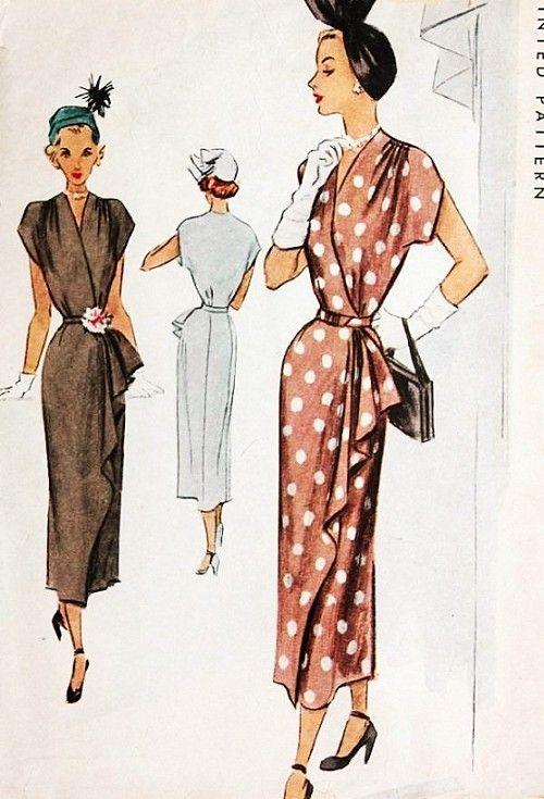 1940s Beautiful Wrap Around Dress Pattern McCall 7627 Shirred Shoulders Surplice Bodice Stunning Side Cascade Drape Bust 32 Vintage Sewing Pattern FACTORY FOLDED