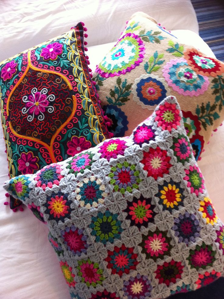 Stitched and knitted decorative pillows #Anthropologie #PinToWIn