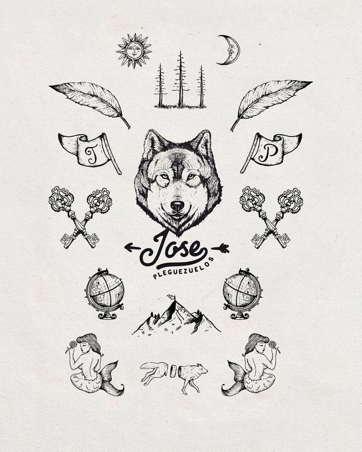 Jose pleguezuelos branding  #branding #logo #handdrawn #icons #wolf #lovedraw #oldblackbamboo