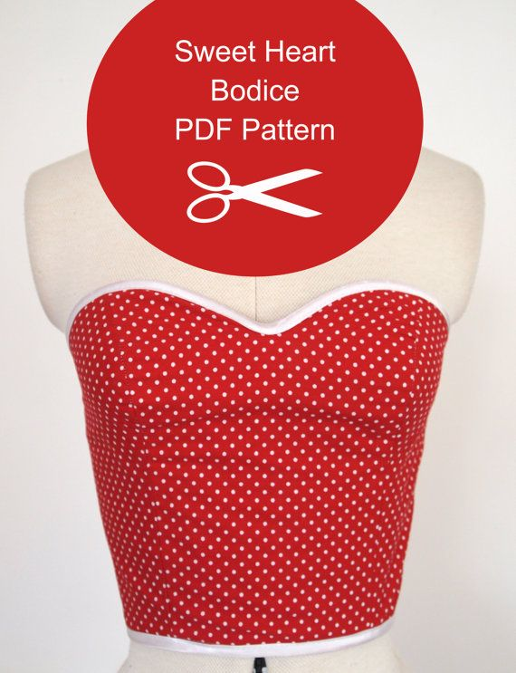 Strapless Top - Sewing Pattern - Instant PDF Download - Multi Size - Womens 1950s Bodice