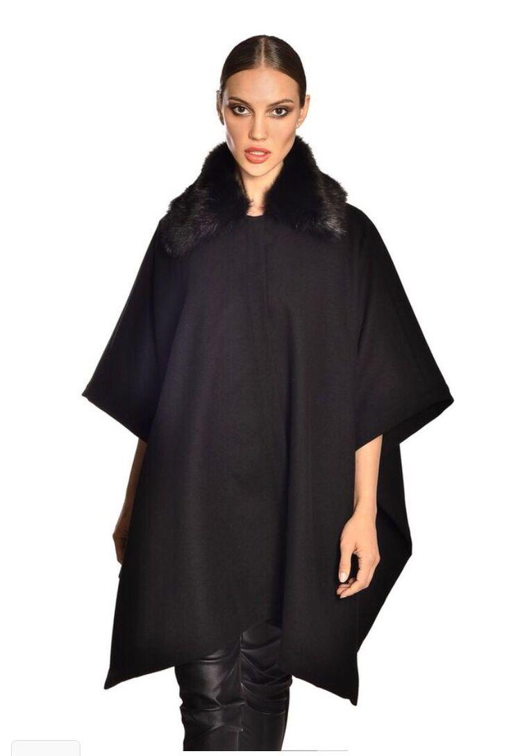 Black fur collar cape