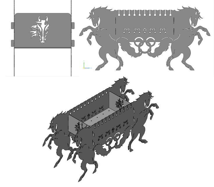 Мангал резной с лошадиной тематикой | Модели для станков ЧПУ | Чертежи в масштабе.ру