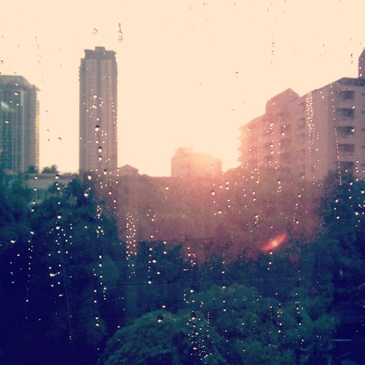 Sunset raining