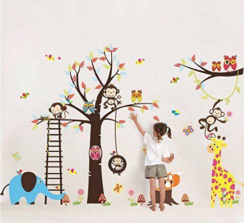 Stunning Wandaufkleber Dschungel Colorfulworld XXXL Wandtattoo Wandsticker Kinderzimmer Tiere Wandsticker de