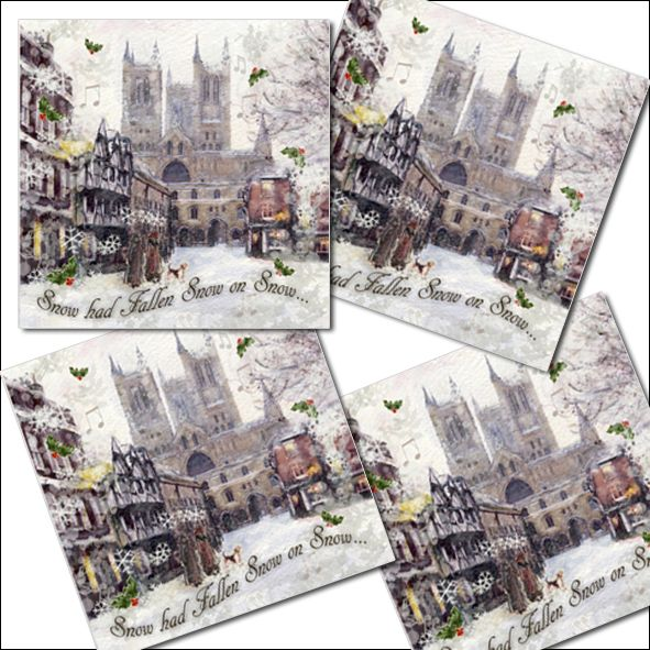 4 Pack Traditional Christmas Cards - Snow on Snow