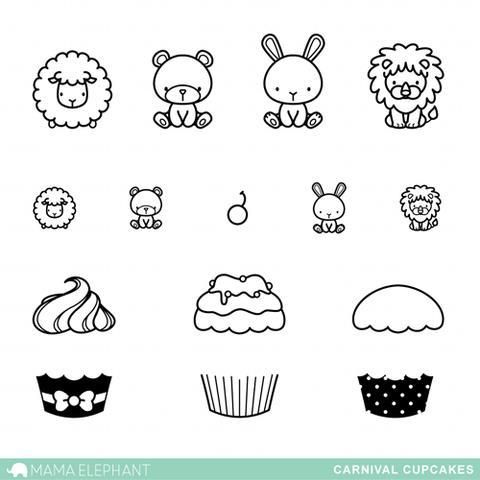 Ellen Hutson, LLC features Mama Elephant Clear Stamps, Carnival Cupcakes.