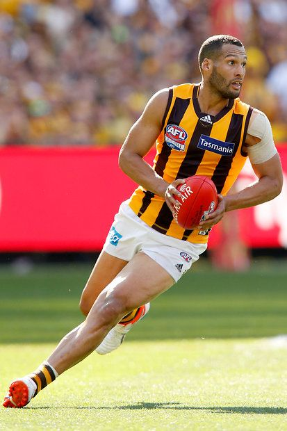 2015 Toyota AFL Grand Final - Hawthorn v West Coast - Josh Gibson of the Hawks runs with the ball