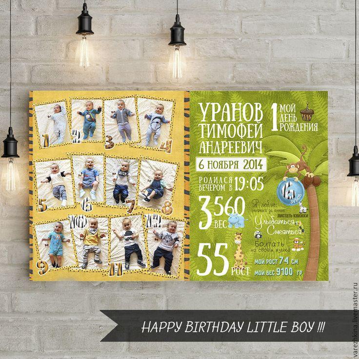 """Купить Плакат на день рождения """"Джунгли"""" - зеленый, желтый, джунгли, плакат, день рождения, постер"""