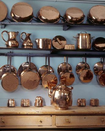 copper pans, pale blue