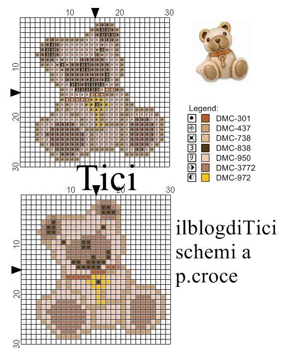 Schema punto croce mini Orsetto Thun con chiave