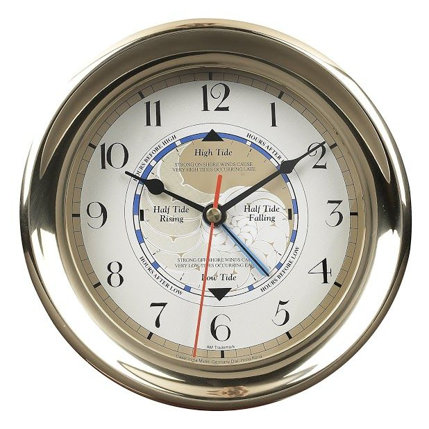 Captain's Time and Tide Clock in Brass