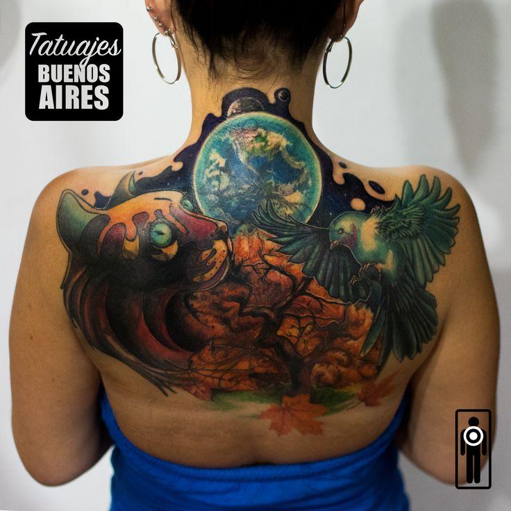 Tattoo CoverUp Diseño Neotradicional full color, espacio, naturaleza, otoño, gato, colibri, luna, planeta  realizado en Tatuajes Buenos Aires, Tatuador: Jose Luis Segura Martinez Agenda tu cita Whatsapp  + 54 9 11 5882-5558 #tattoo #tatuaje #luna #gato #colibri #neotradicional #otoño #hojas #naturaleza #mujer #cubrir #tapar #ocultar #TatuajesBuenosAires #JoseLuisSeguraMartinez