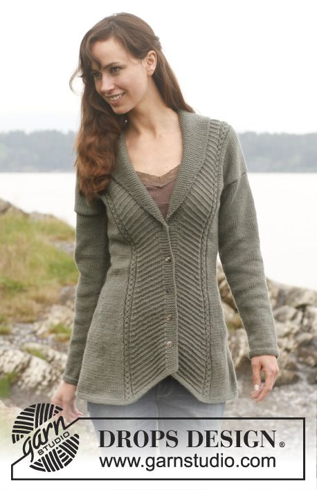 Jacket with textured pattern and shawl collar ~ DROPS Design Fall & Winter 2013/14 #knit #free_pattern