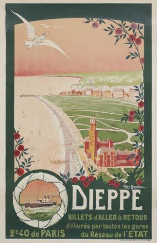 Vintage Railway Travel Poster  - Dieppe - France  - by René Granval - 1914.