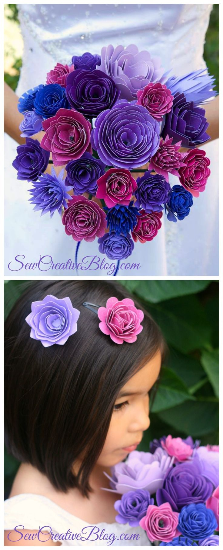 Beautiful Wedding Bouquet and Flower Girl Barrettes made from paper on the Cricut Explore. Project by Sew Creative
