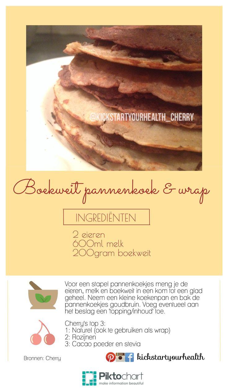 Het recept van de glutenvrije boekweit pannenkoeken! En dus ook te gebruiken als een healthy wrap en broodvervanger! Op een eerdere foto (via Facebook.com/kickstartyourhealth.cherry) liet ik mijn healthy wrap al zien, het beleg hiervoor staat met #hashtags aangegeven. Enjoy & do good!  * Als koemelk alternatief gebruik ik rijstmelk.