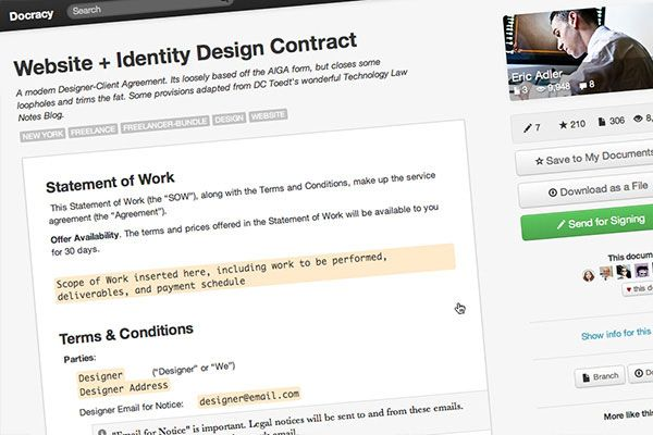 Free Contract Template For Designer By Crowdspring