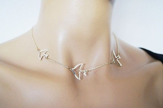 Gold Plated Birds Necklace Bird Necklace Swallow by ArtofAccessory