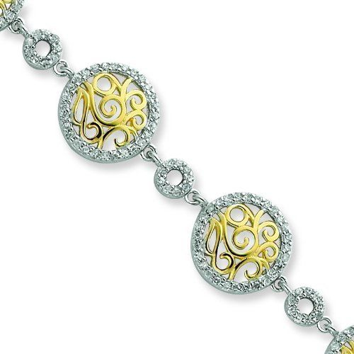 Silver & Vermeil Scrolled CZ Circles Bracelet. Metal Weight- 11.39g. Jewelrypot. $111.99. Your item will be shipped the same or next weekday!. 30 Day Money Back Guarantee. Fabulous Promotions and Discounts!. All Genuine Diamonds, Gemstones, Materials, and Precious Metals. 100% Satisfaction Guarantee. Questions? Call 866-923-4446. Save 62% Off!