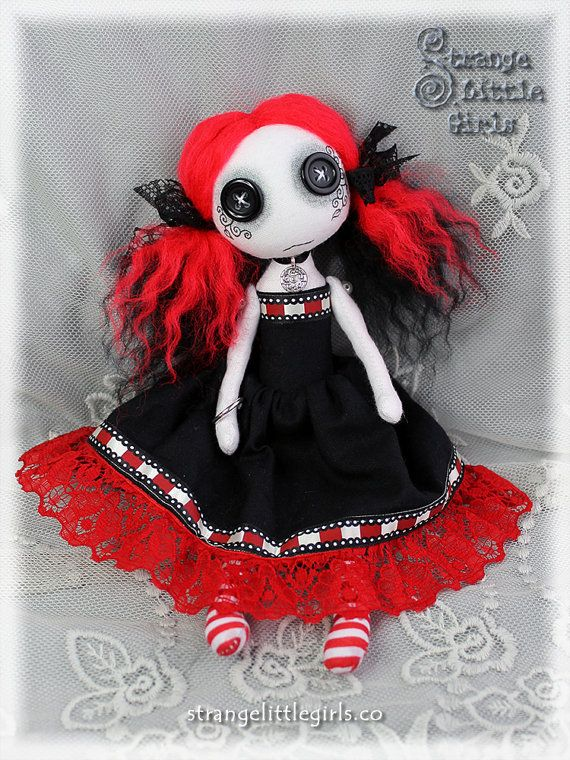 Gothic art doll with button eyes Alva Sunstone  by Strange Little Girls