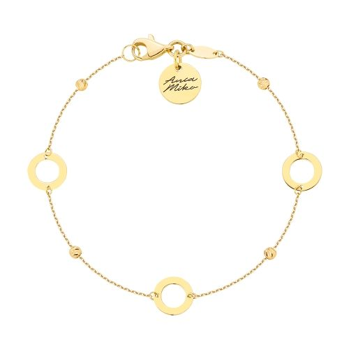 Śliczna złota bransoletka z trzema okrągłymi zawieszkami.  Doskonała na prezent dla ukochanej.  Całość złoto 14K próba 585