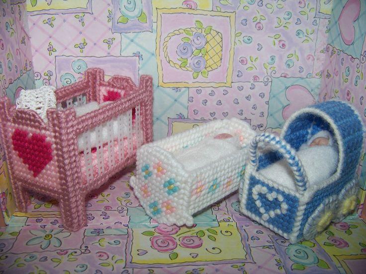 Crafty Kat: Mini nursery furniture in plastic canvas