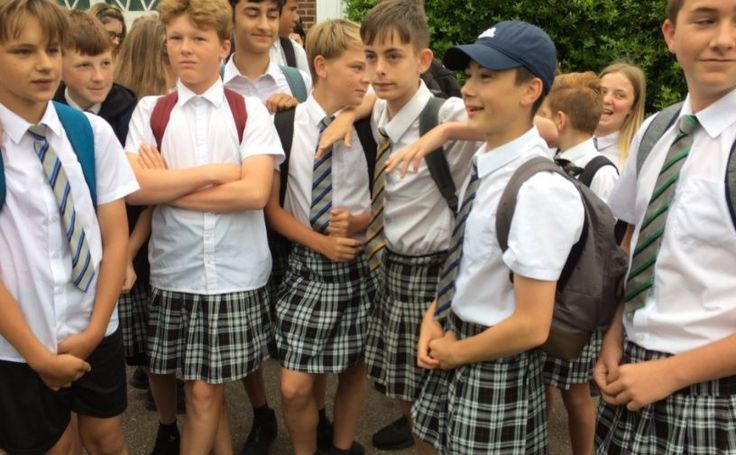 """This group of British boys wore skirts to fight their school's """"no shorts"""" rule 