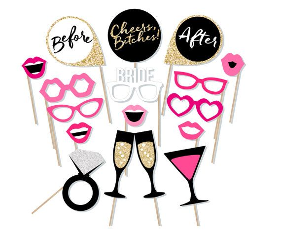 Printable Bachelorette Photo Booth Props - Hen Party Photobooth Props - Cheers Bitches - Bachelorette Before and After Signs Gold Pink Black
