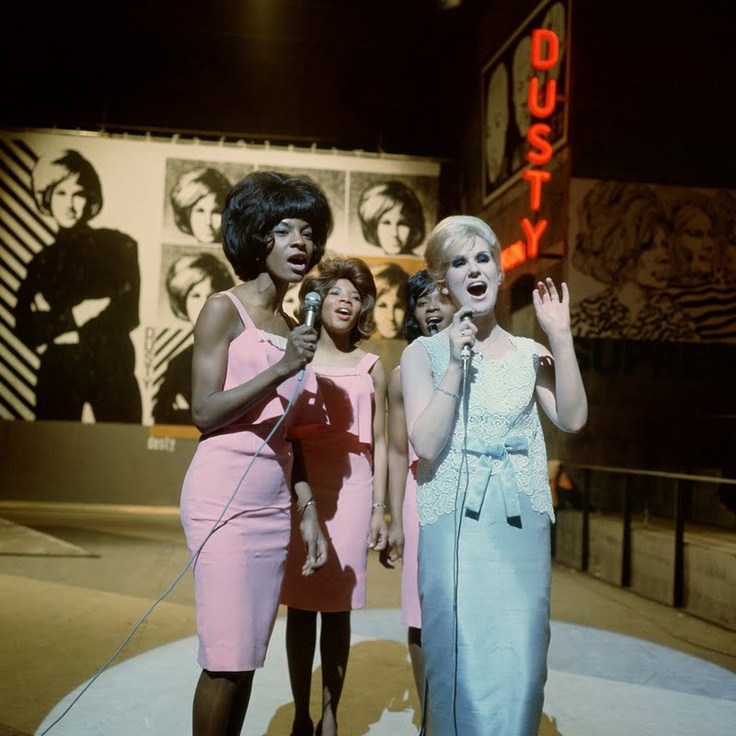 """March 18, 1965 — Host Dusty Springfield and Martha & The Vandellas perform """"Wishin' and Hopin'"""" on a special Motown episode of Ready, Steady, Go!, ITV, Britain"""