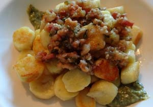 Gluten Free Potato Gnocchi with a Bacon and Basil Ragu.  Gnocchi made with brown & white rice flours, potato starch, tapioca or corn starch and xanthan gum