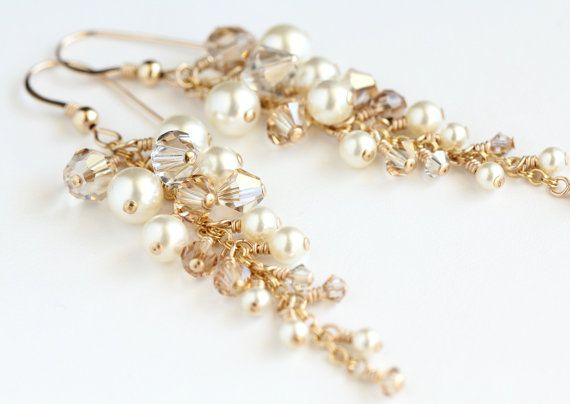 Champagne Gold Fade Earrings With Swarovski Crystals And